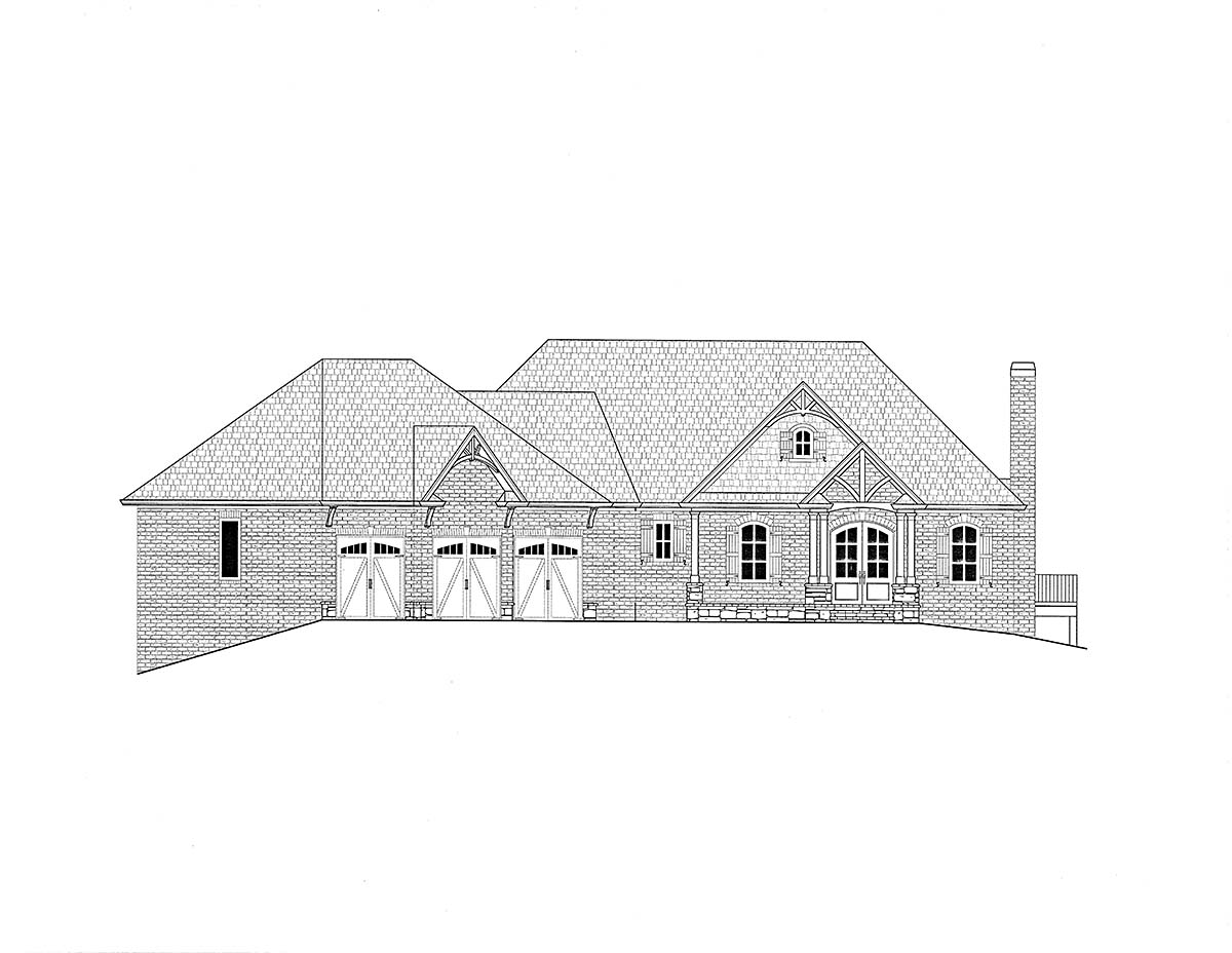 Craftsman, Traditional House Plan 52033 with 3 Beds, 4 Baths, 4 Car Garage Picture 1