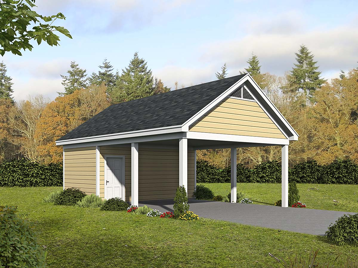 Country, Ranch, Traditional 2 Car Garage Plan 52103 Elevation