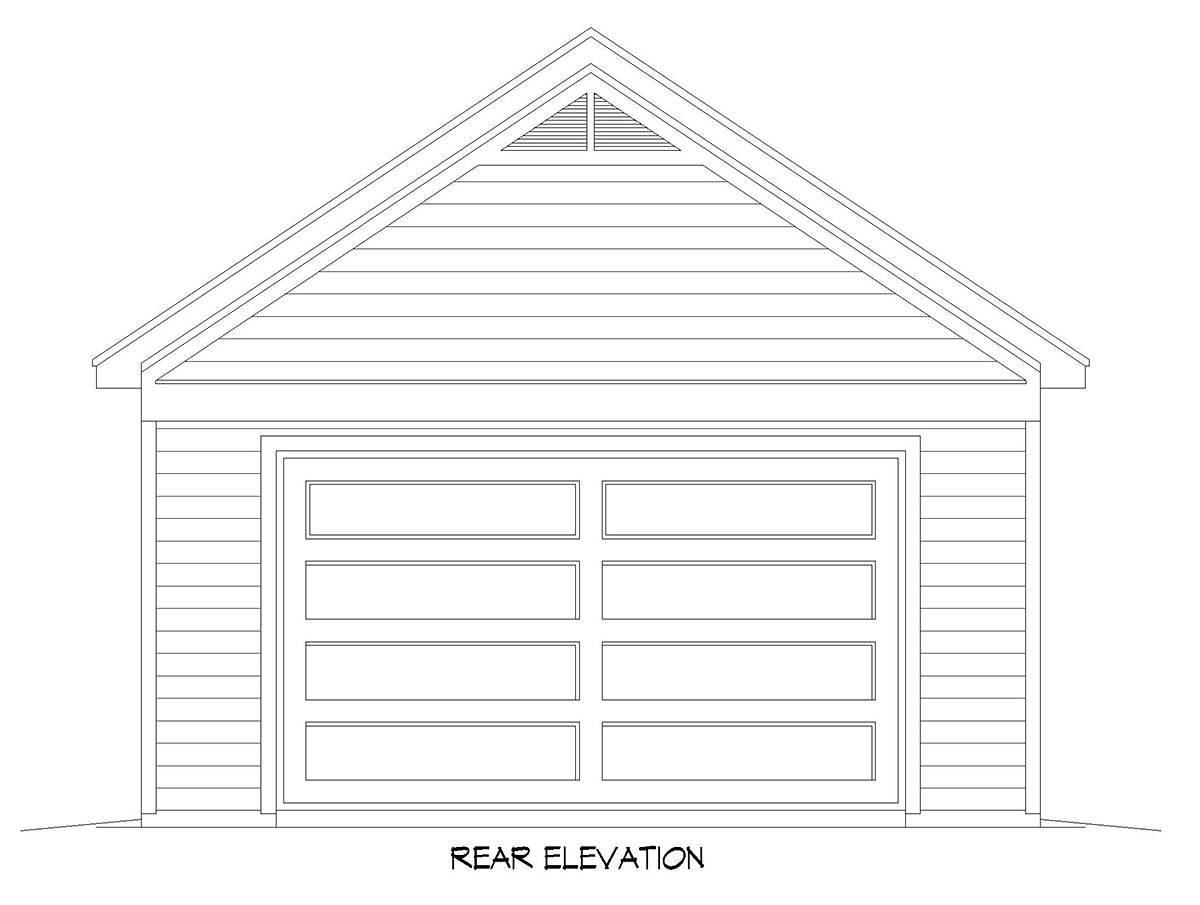 Country, Ranch, Traditional 2 Car Garage Plan 52103 Rear Elevation