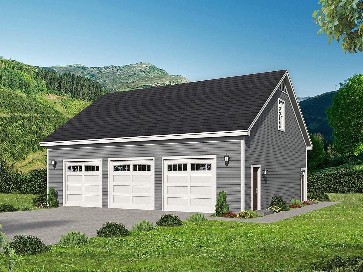 Traditional 3 Car Garage Plan 52106 with 1 Beds, 1 Baths Elevation