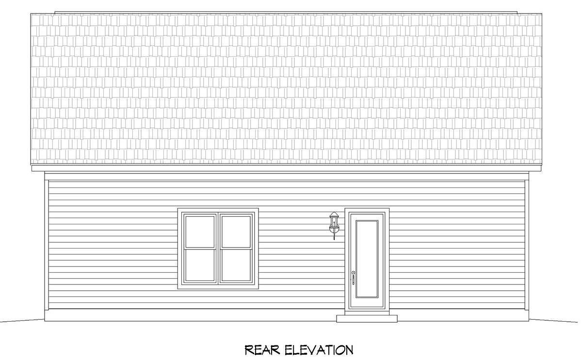 Traditional 3 Car Garage Plan 52106 with 1 Beds, 1 Baths Rear Elevation