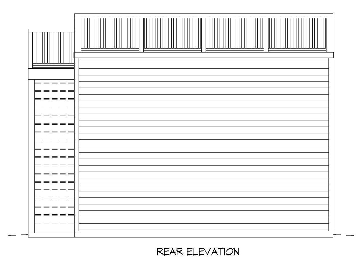 2 Car Garage Plan 52107 Rear Elevation