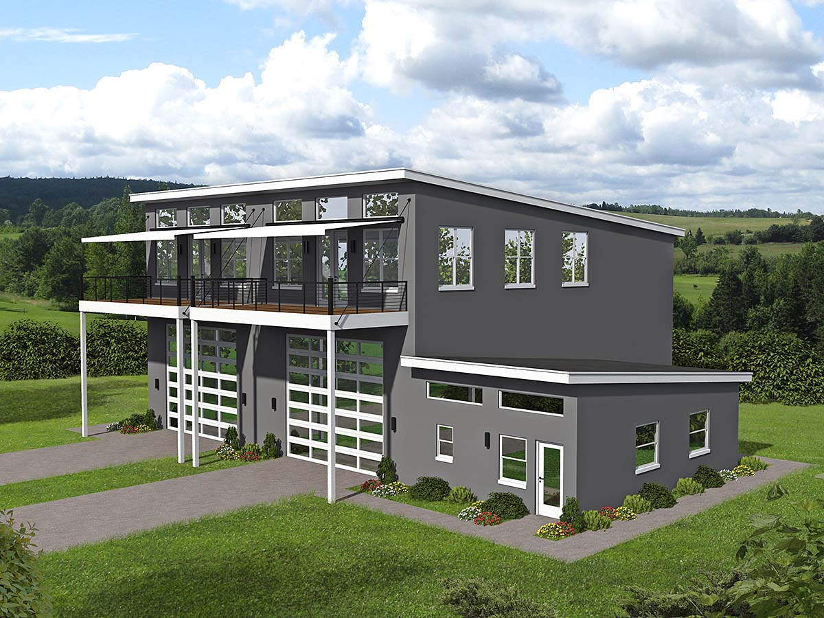 Contemporary, Modern Multi-Family Plan 52108 with 6 Beds, 4 Baths, 6 Car Garage Elevation