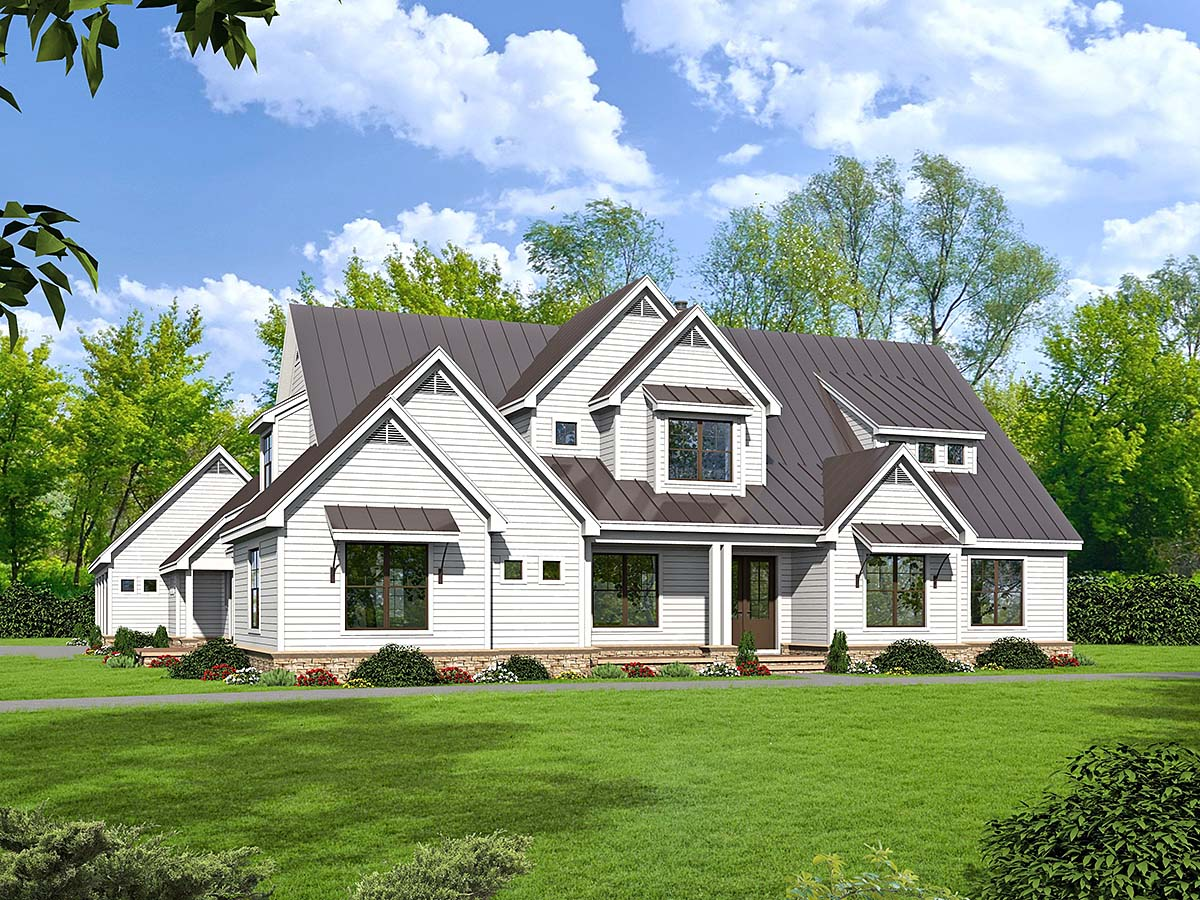 Country, Farmhouse, Traditional House Plan 52111 with 6 Beds, 5 Baths, 4 Car Garage Elevation