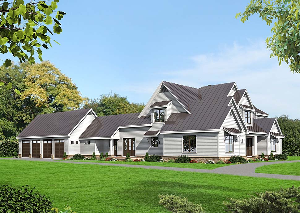 Country, Farmhouse, Traditional House Plan 52111 with 6 Beds, 5 Baths, 4 Car Garage Picture 4