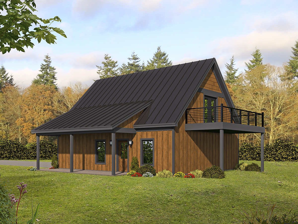 Bungalow, Country, Craftsman, Traditional 2 Car Garage Apartment Plan 52113 Rear Elevation