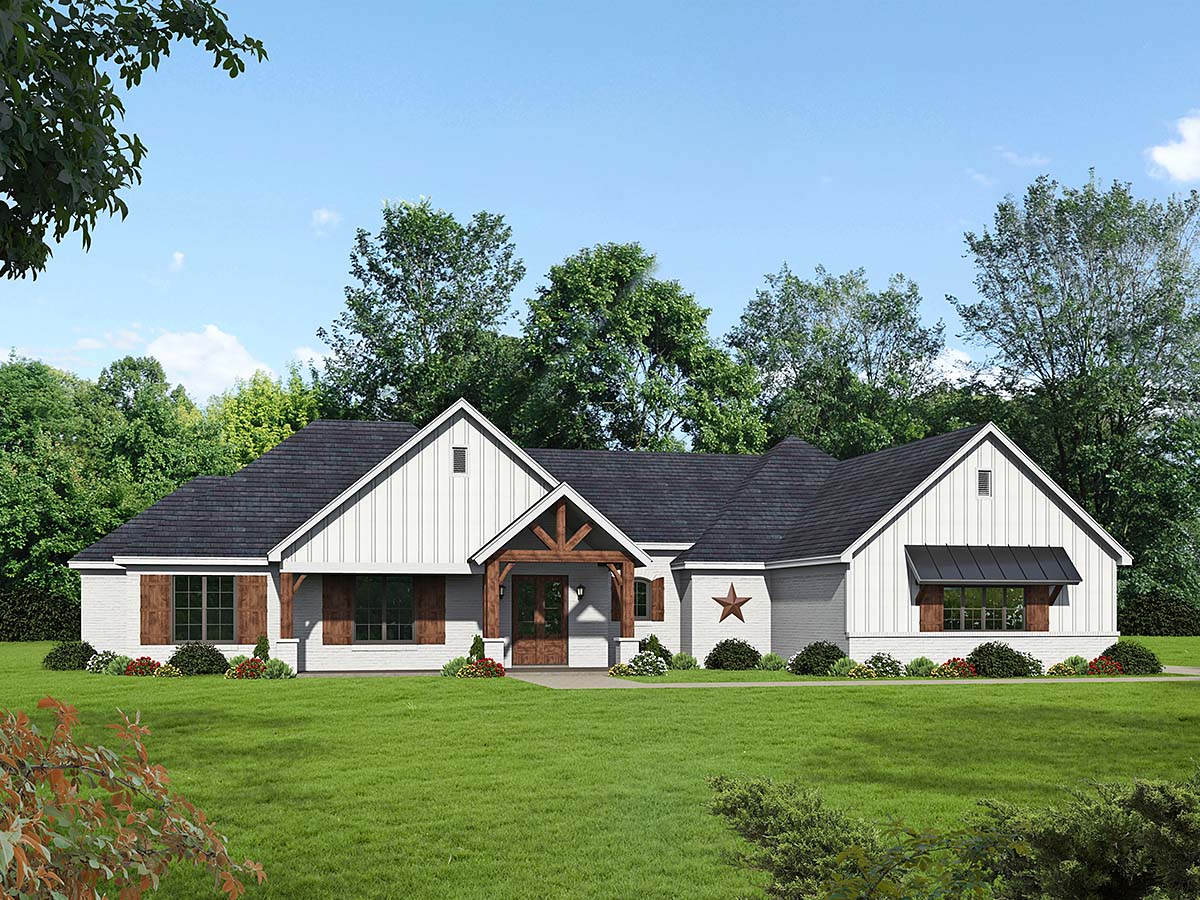 French Country, Ranch, Traditional House Plan 52117 with 3 Beds, 3 Baths, 3 Car Garage Elevation