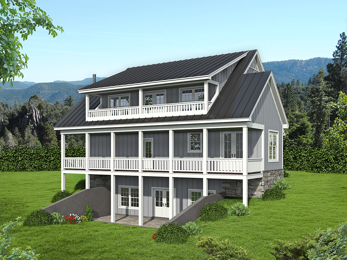 Country, Traditional House Plan 52118 with 3 Beds, 4 Baths Rear Elevation