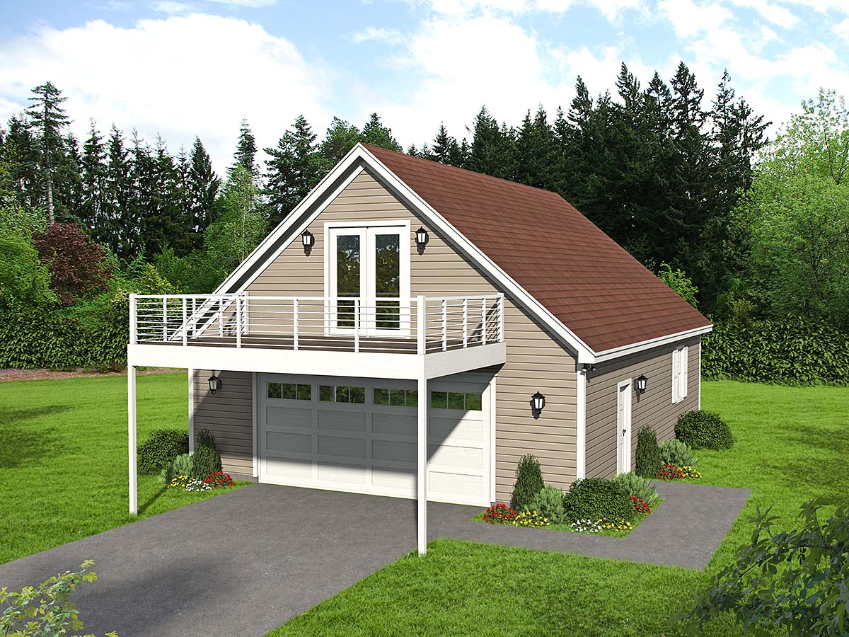 Country, Ranch, Traditional 4 Car Garage Apartment Plan 52119 Elevation