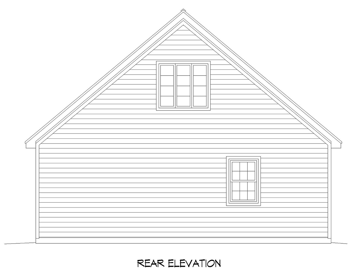 Country, Ranch, Traditional 4 Car Garage Apartment Plan 52119 Rear Elevation
