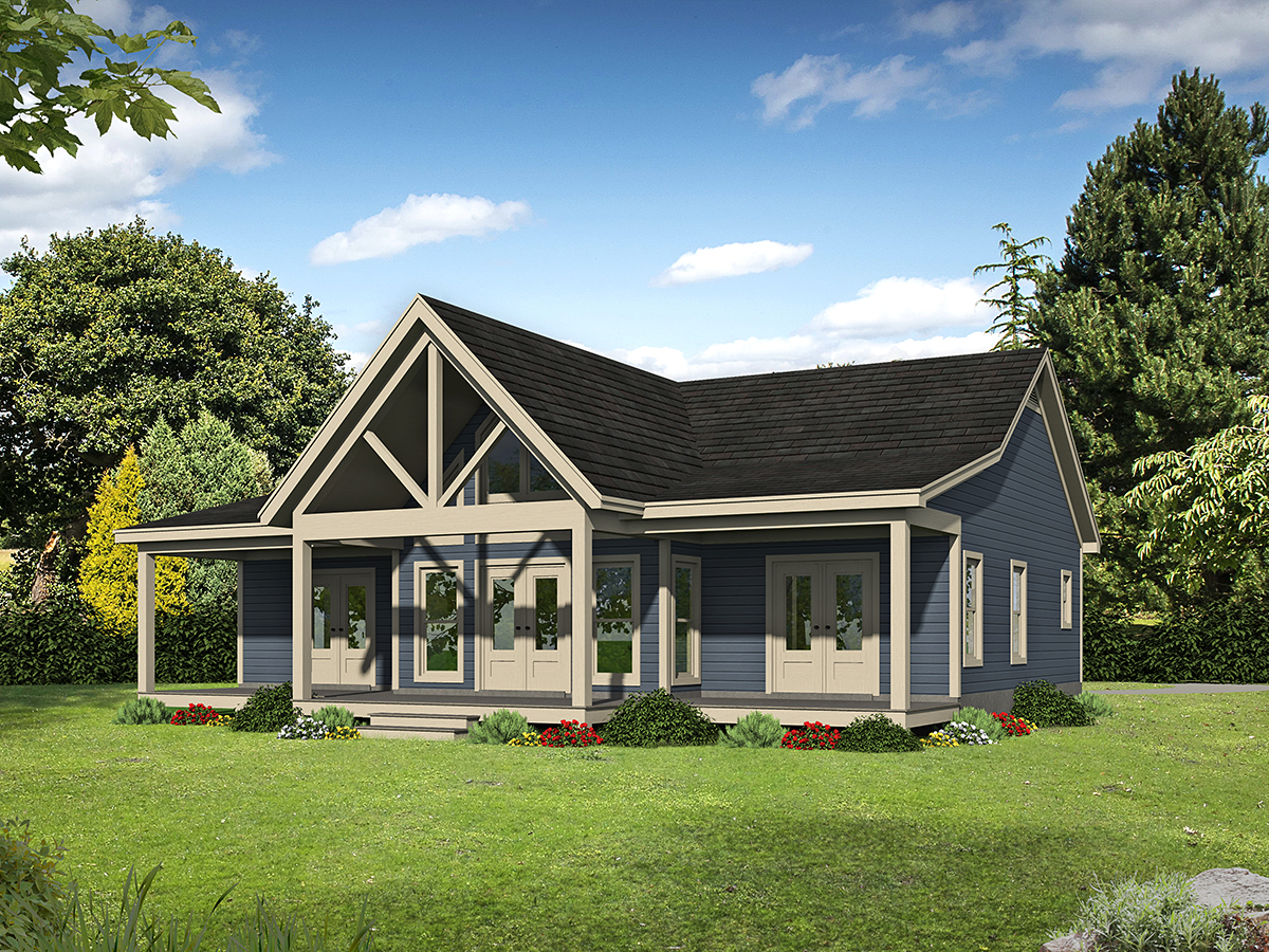 Country, Farmhouse, Traditional House Plan 52120 with 2 Beds, 2 Baths Rear Elevation
