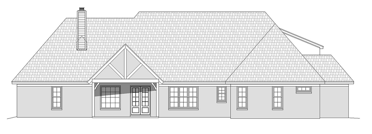 European, French Country, Ranch House Plan 52121 with 3 Beds, 3 Baths, 3 Car Garage Rear Elevation