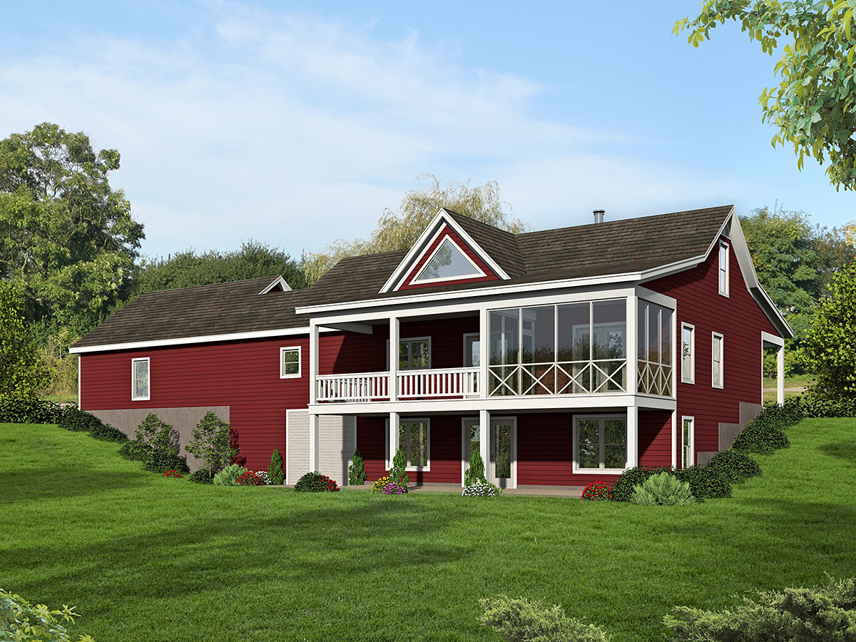 Country, Farmhouse, Traditional House Plan 52122 with 2 Beds, 2 Baths, 2 Car Garage Rear Elevation