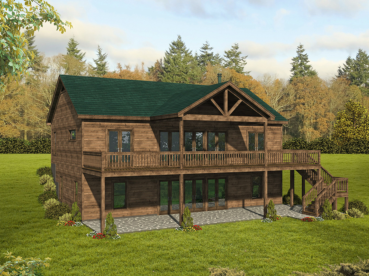 Country, Traditional House Plan 52125 with 4 Beds, 4 Baths Rear Elevation