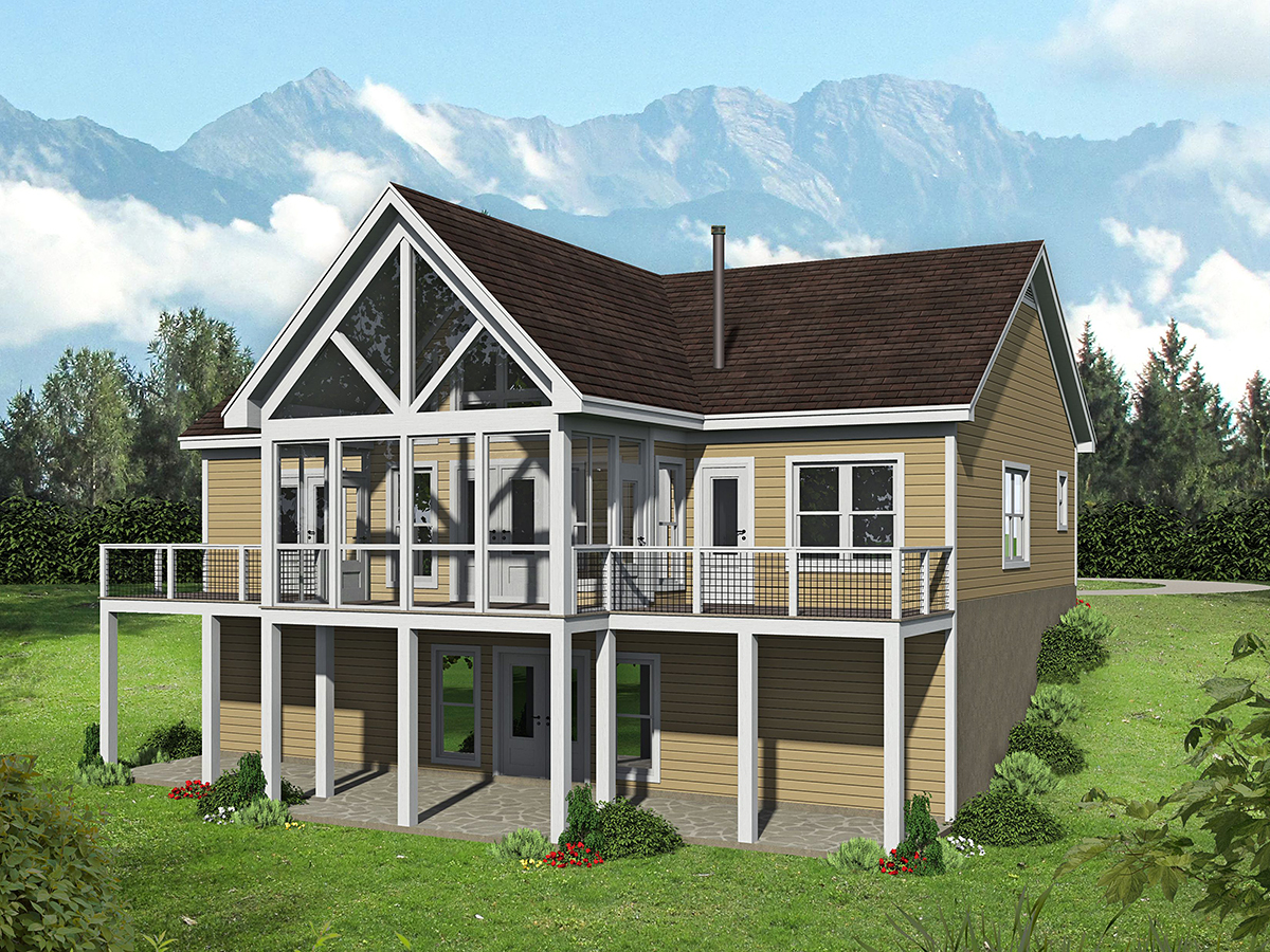 Country, Ranch, Traditional House Plan 52126 with 2 Beds, 2 Baths Rear Elevation