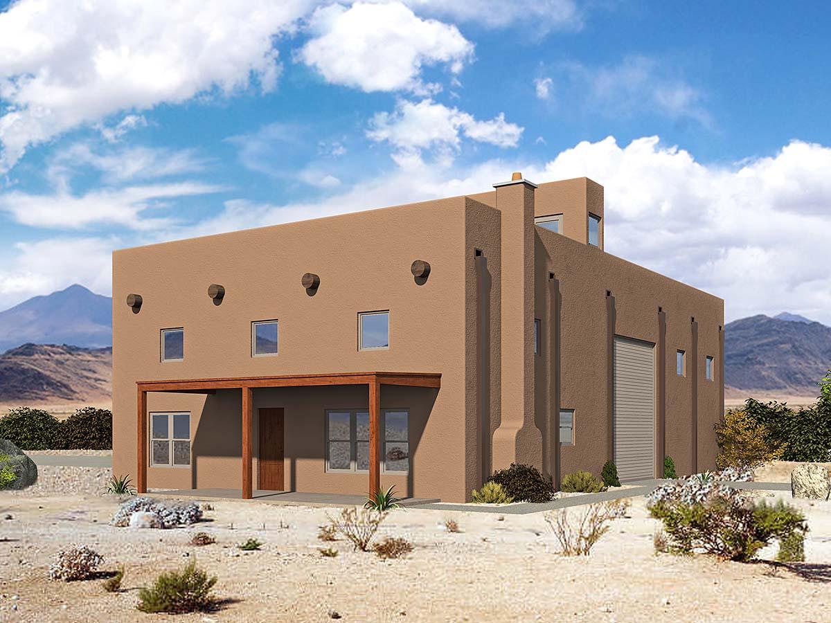 Santa Fe, Southwest Garage-Living Plan 52129 with 1 Beds, 1 Baths Elevation