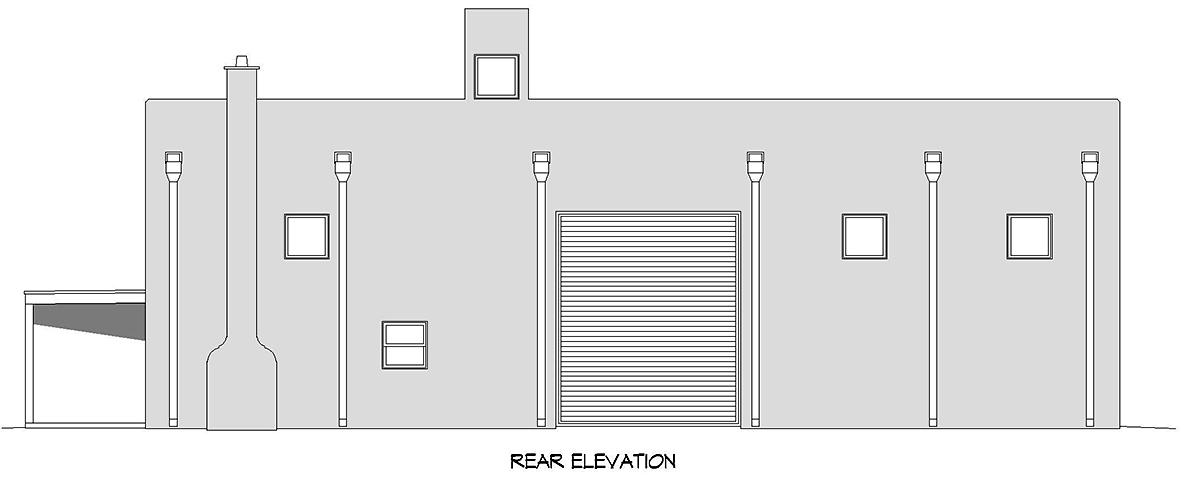 Santa Fe, Southwest Garage-Living Plan 52129 with 1 Beds, 1 Baths Rear Elevation