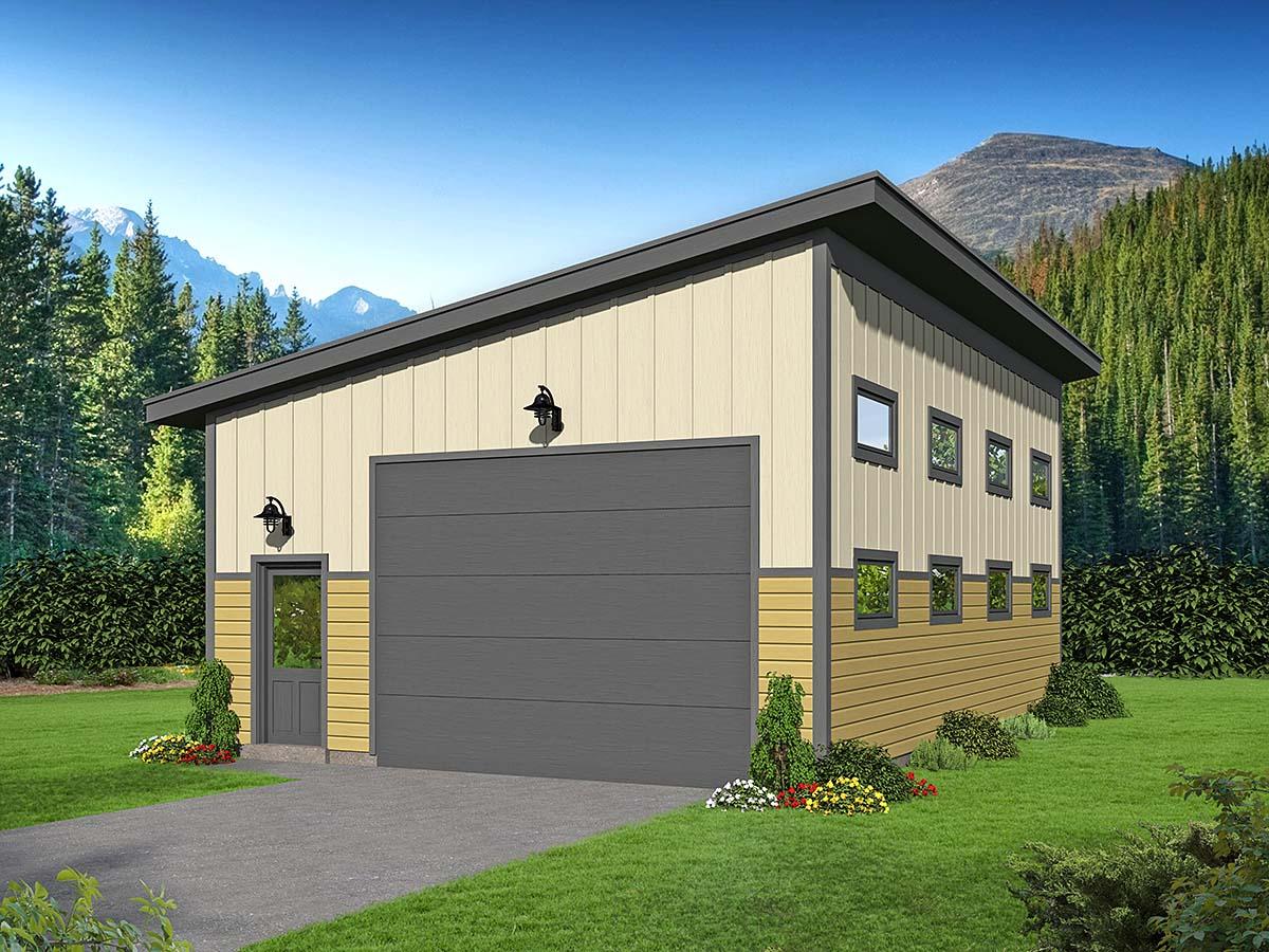 Contemporary, Modern 1 Car Garage Plan 52130 Elevation