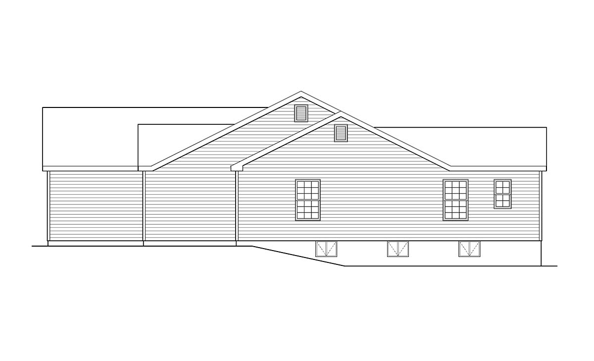 Ranch, Traditional House Plan 52200 with 3 Beds, 2 Baths, 2 Car Garage Picture 1