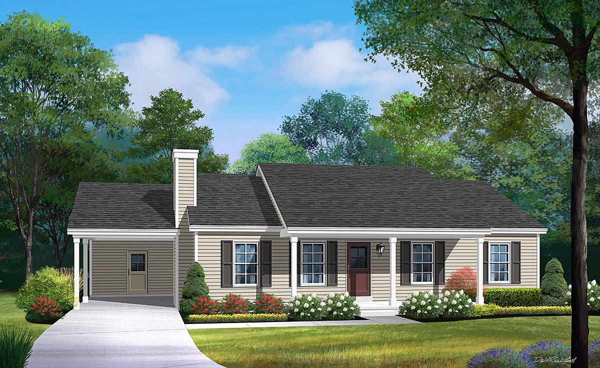 Ranch House Plan 52201 with 3 Beds, 2 Baths, 1 Car Garage Elevation