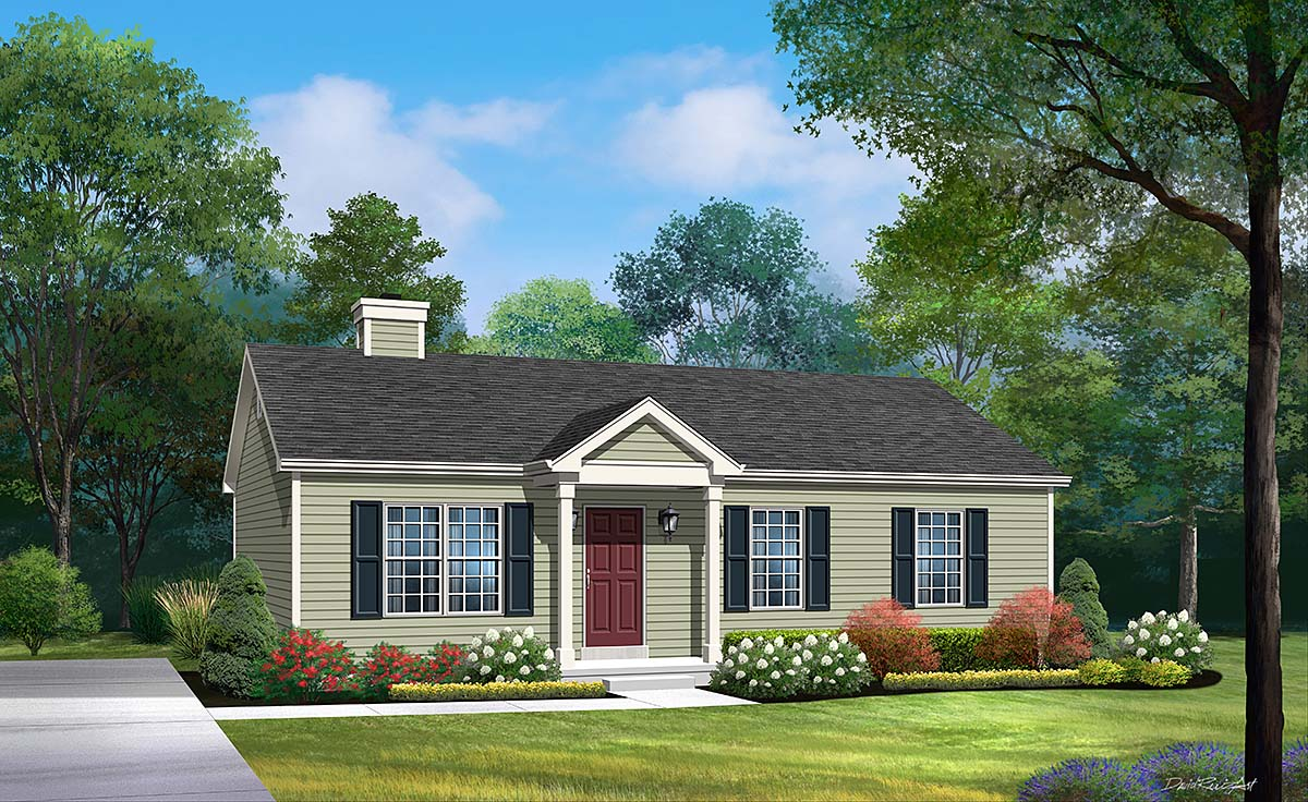 Ranch House Plan 52203 with 3 Beds, 1 Baths Elevation