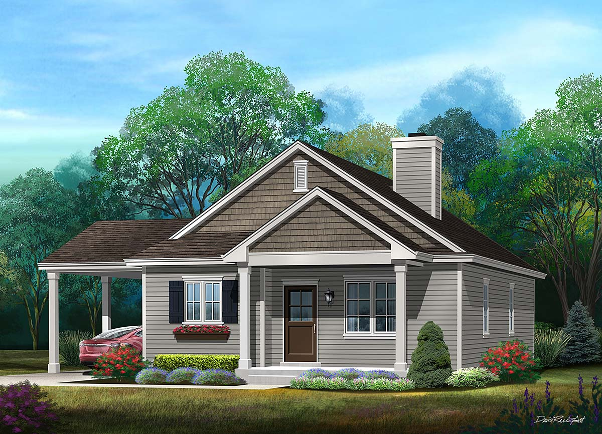 Ranch House Plan 52204 with 3 Beds, 2 Baths, 1 Car Garage Elevation