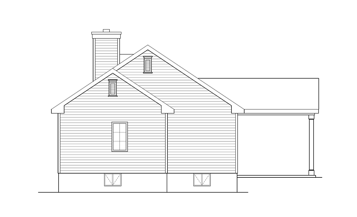 Ranch House Plan 52204 with 3 Beds, 2 Baths, 1 Car Garage Rear Elevation