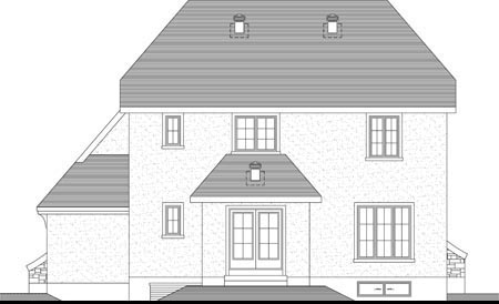 Rear Elevation of Plan 52300
