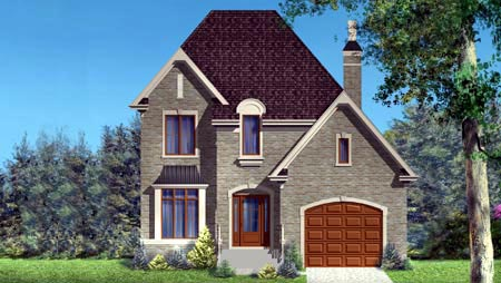 House Plan 52302 with 3 Beds, 2 Baths, 1 Car Garage Elevation