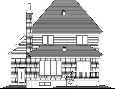 House Plan 52302 with 3 Beds , 2 Baths , 1 Car Garage Rear Elevation
