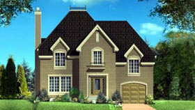 House Plan 52303   Style Plan with 2077 Sq Ft, 3 Bedrooms, 2 Bathrooms, 1 Car Garage Elevation