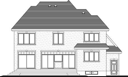 House Plan 52305 with 3 Beds, 3 Baths, 1 Car Garage Rear Elevation