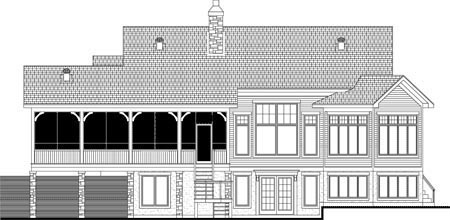 House Plan 52312 | Style Plan with 2957 Sq Ft, 4 Bedrooms, 3 Bathrooms, 2 Car Garage Rear Elevation
