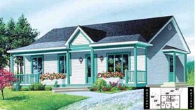 House Plan 52326   Style Plan with 988 Sq Ft, 2 Bedrooms, 1 Bathrooms Elevation