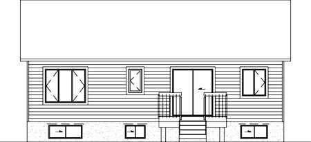 House Plan 52326   Style Plan with 988 Sq Ft, 2 Bedrooms, 1 Bathrooms Rear Elevation