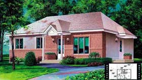 House Plan 52333 | Style Plan with 988 Sq Ft, 3 Bedrooms, 1 Bathrooms Elevation