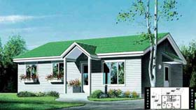 House Plan 52341 | Style Plan with 988 Sq Ft, 2 Bedrooms, 1 Bathrooms Elevation