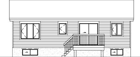 House Plan 52341 | Style Plan with 988 Sq Ft, 2 Bedrooms, 1 Bathrooms Rear Elevation