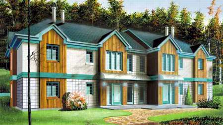Multi-Family Plan 52352 Elevation