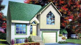 House Plan 52356 | Style Plan with 1345 Sq Ft, 3 Bedrooms, 3 Bathrooms, 1 Car Garage Elevation