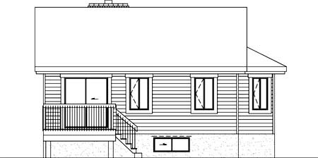 House Plan 52357 with 1 Beds, 1 Baths Rear Elevation