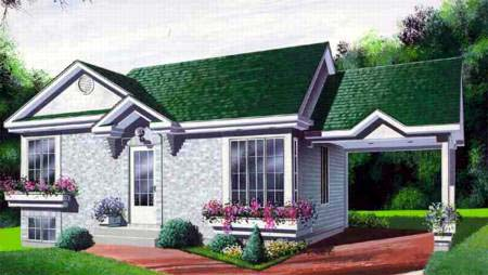 House Plan 52364 with 2 Beds, 1 Baths, 1 Car Garage Elevation