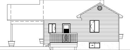 House Plan 52364 with 2 Beds, 1 Baths, 1 Car Garage Rear Elevation