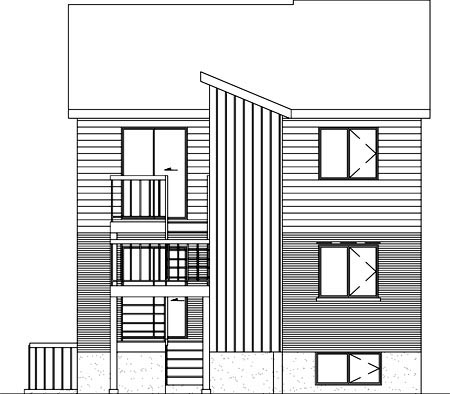 Rear Elevation of Plan 52400