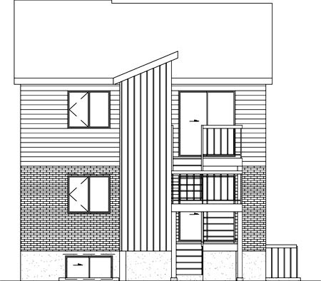 Rear Elevation of Plan 52401