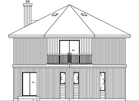 Rear Elevation of Plan 52407
