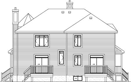 Multi-Family Plan 52421 with 5 Beds, 4 Baths Rear Elevation