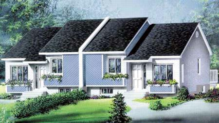 Multi-Family Plan 52427 with 4 Beds, 2 Baths Elevation