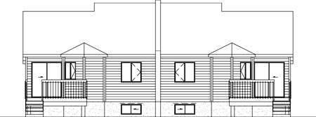 Multi-Family Plan 52427 with 4 Beds, 2 Baths Rear Elevation