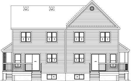 Multi-Family Plan 52429 | Style Plan with 4755 Sq Ft, 8 Bedrooms, 8 Bathrooms Rear Elevation